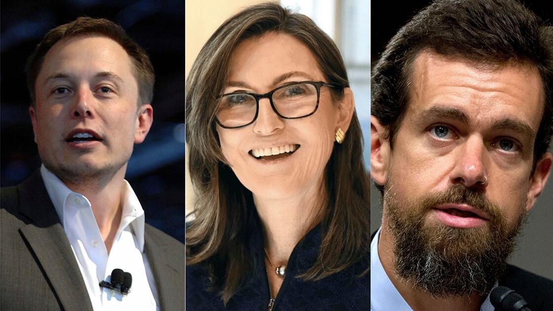 Elon Musk, Jack Dorsey, Cathie Wood